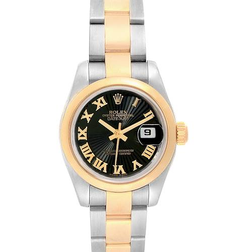 Photo of Rolex Datejust 26 Steel Yellow Gold Black Dial Ladies Watch 179163 Box Card
