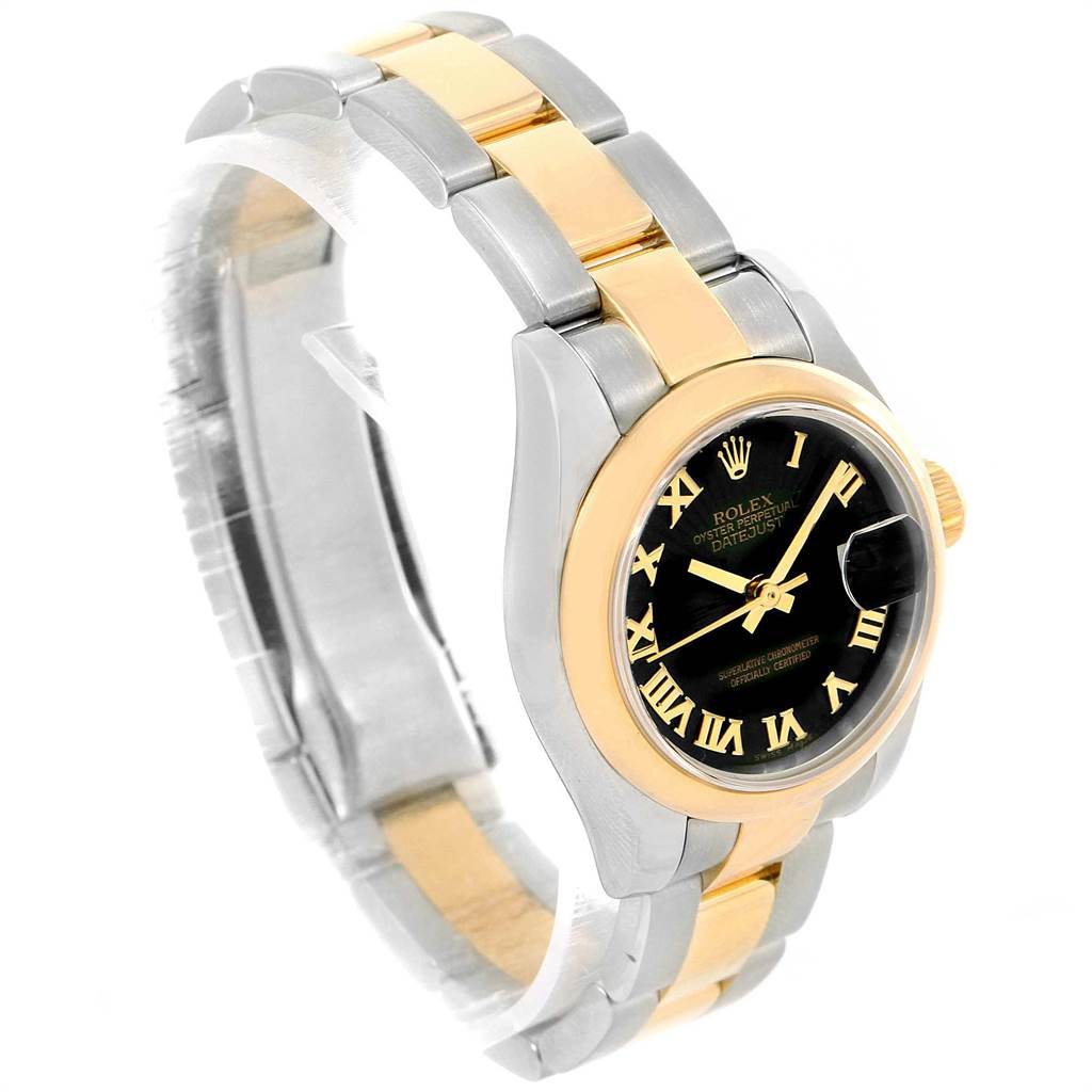12337A Rolex Datejust 26 Steel Yellow Gold Black Dial Ladies Watch 179163 Box Card SwissWatchExpo