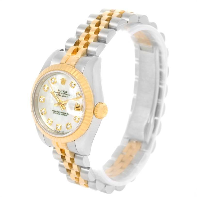 Rolex Datejust Steel Yellow Gold Mother of Pearl Diamond Watch 179173 SwissWatchExpo