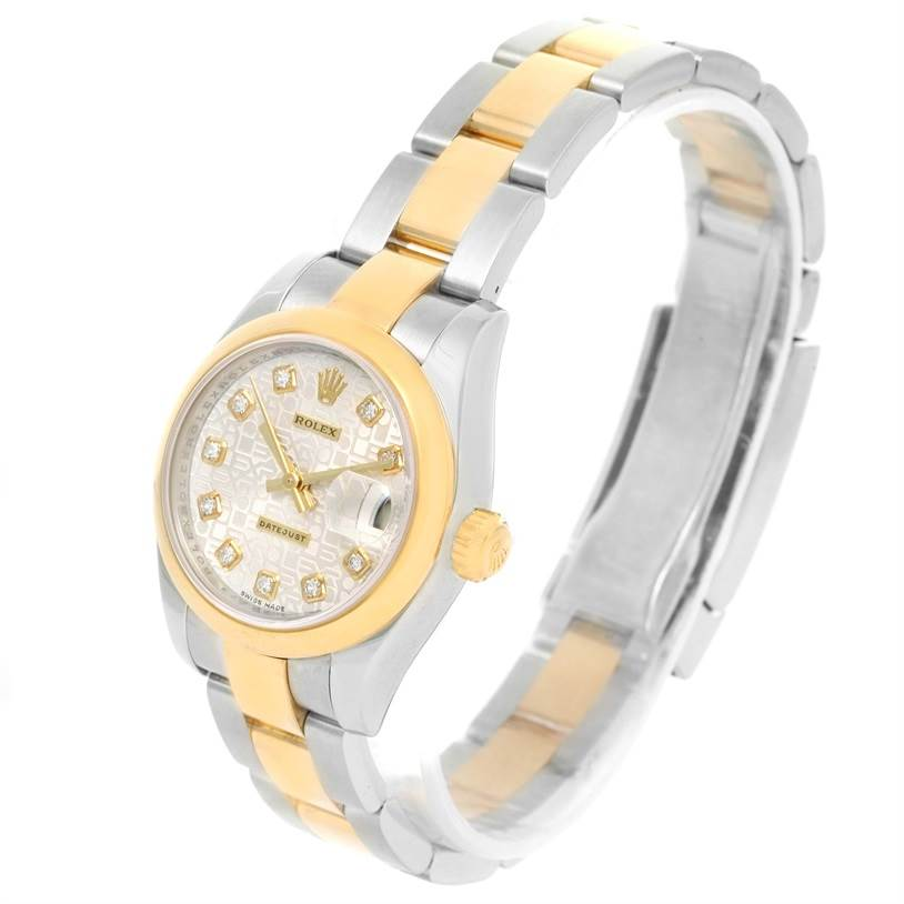 12672 Rolex Datejust Steel 18K Yellow Gold Diamond Dial Watch 179163 SwissWatchExpo
