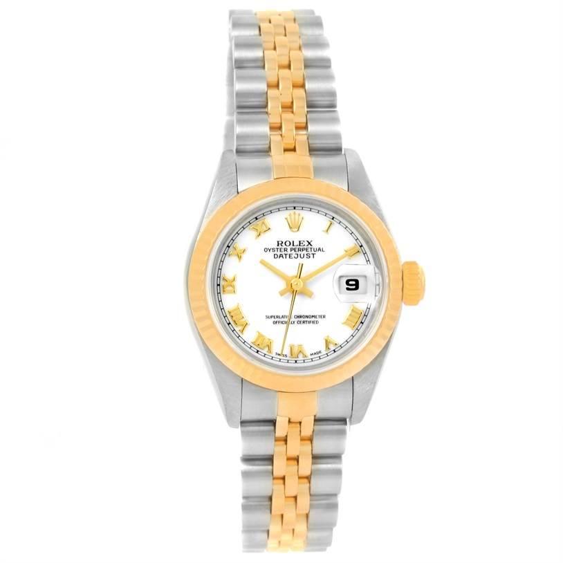 8886 Rolex Datejust Steel 18k Yellow Gold White Dial Ladies Watch 79173 SwissWatchExpo