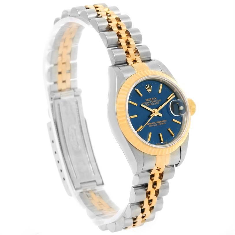 13176 Rolex Datejust Ladies Steel 18k Yellow Gold Blue Dial Watch 79173 SwissWatchExpo