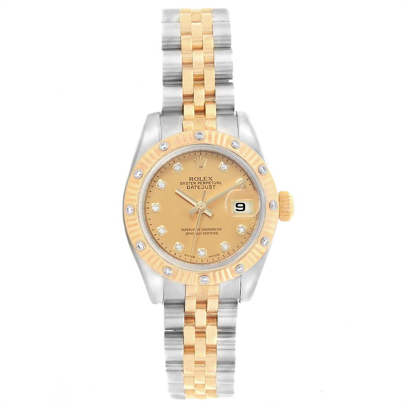 Rolex Datejust Steel Yellow Gold Diamond Ladies Watch 179313 SwissWatchExpo
