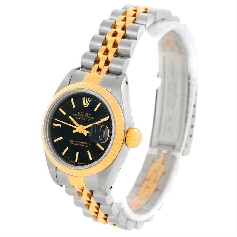 Rolex Datejust Womens Steel 18k Yellow Gold Black Dial Watch 69173 SwissWatchExpo