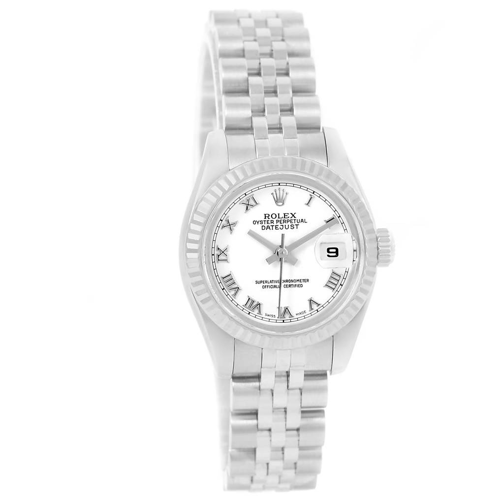 13195 Rolex Datejust Steel White Gold White Roman Dial Ladies Watch 179174 SwissWatchExpo