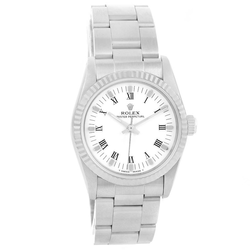 Rolex Midsize Datejust Steel 18K White Gold White Dial Watch 67514 SwissWatchExpo