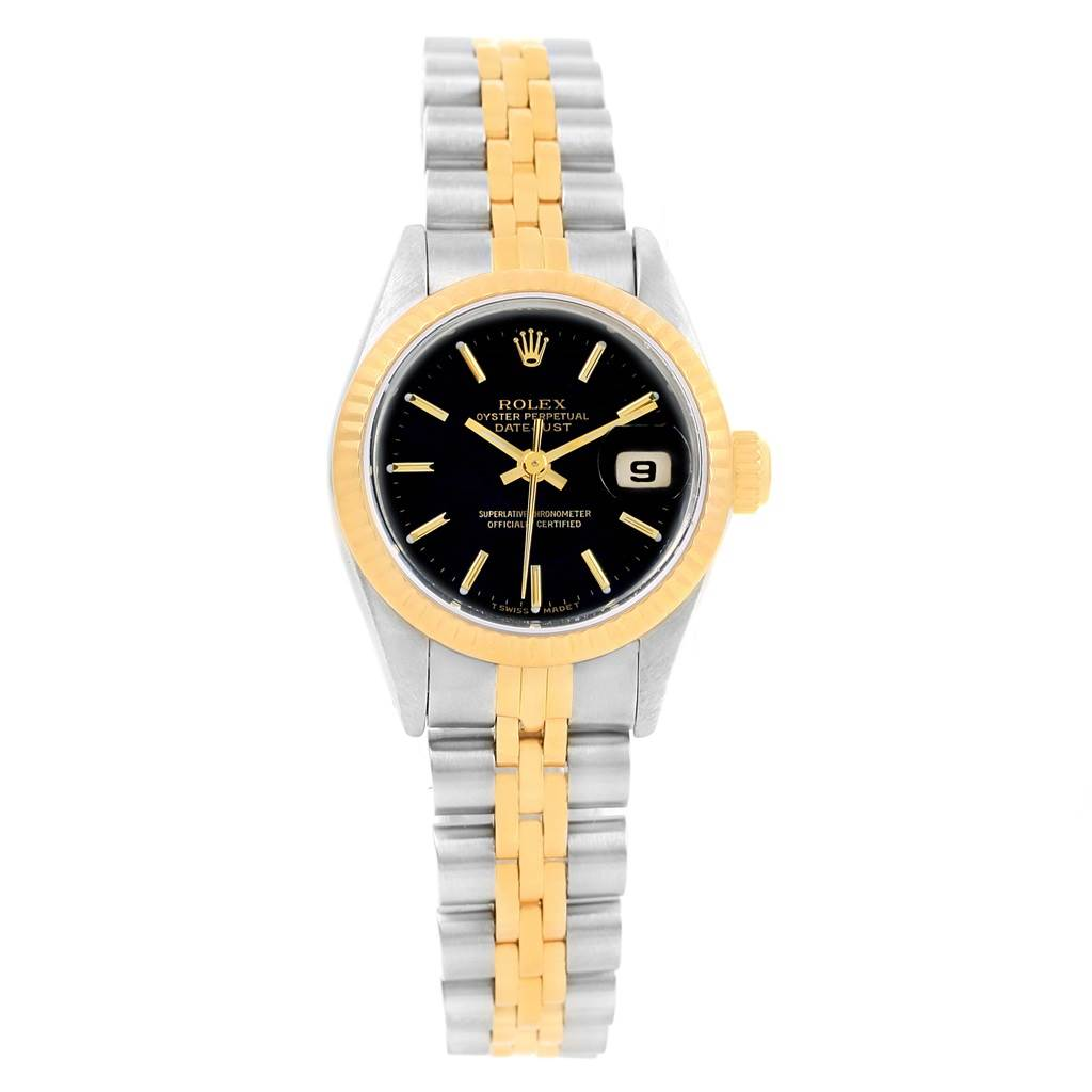 13686 Rolex Datejust Steel 18K Yellow Gold Black Dial Ladies Watch 69173 SwissWatchExpo