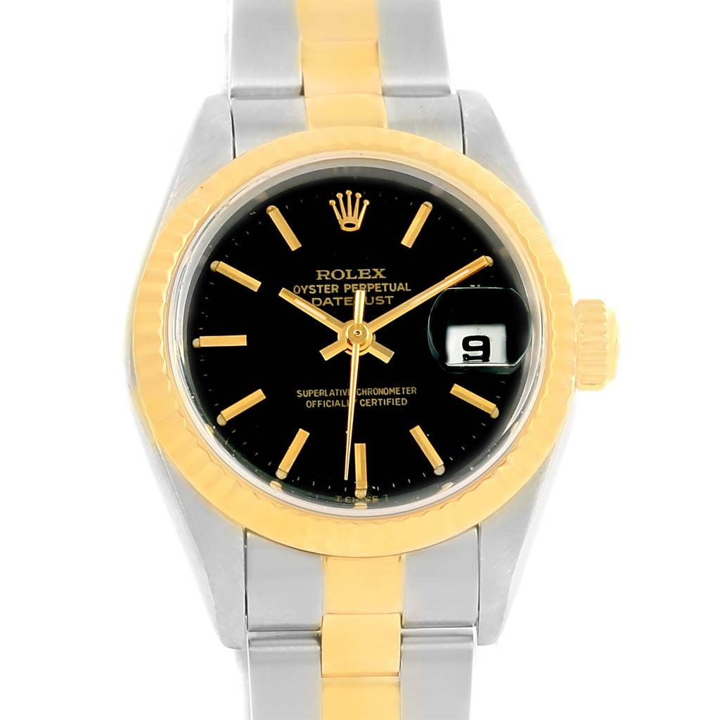 13179 Rolex Datejust Steel Yellow Gold Black Dial Ladies Watch 69173 SwissWatchExpo