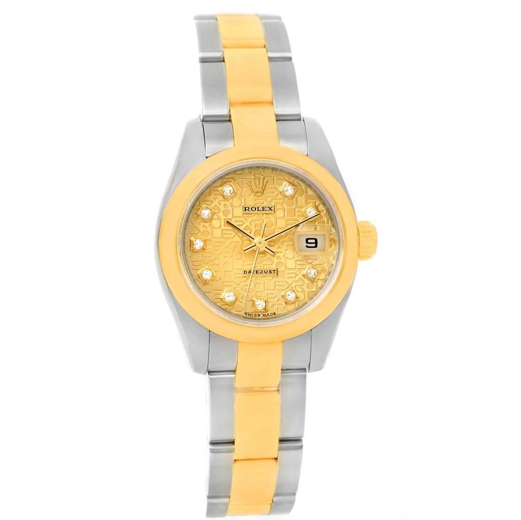 12672A Rolex Datejust Steel 18K Yellow Gold Diamond Dial Watch 179163 SwissWatchExpo