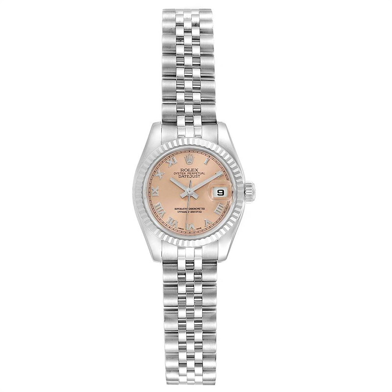 Rolex Datejust 26 Steel White Gold Fluted Bezel Ladies Watch 179174 SwissWatchExpo