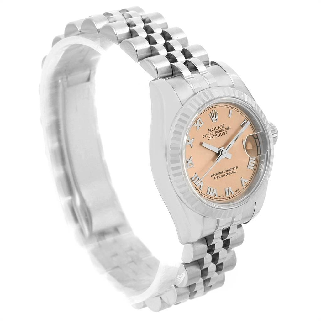 13192 Rolex Datejust 26 Steel White Gold Fluted Bezel Ladies Watch 179174 SwissWatchExpo