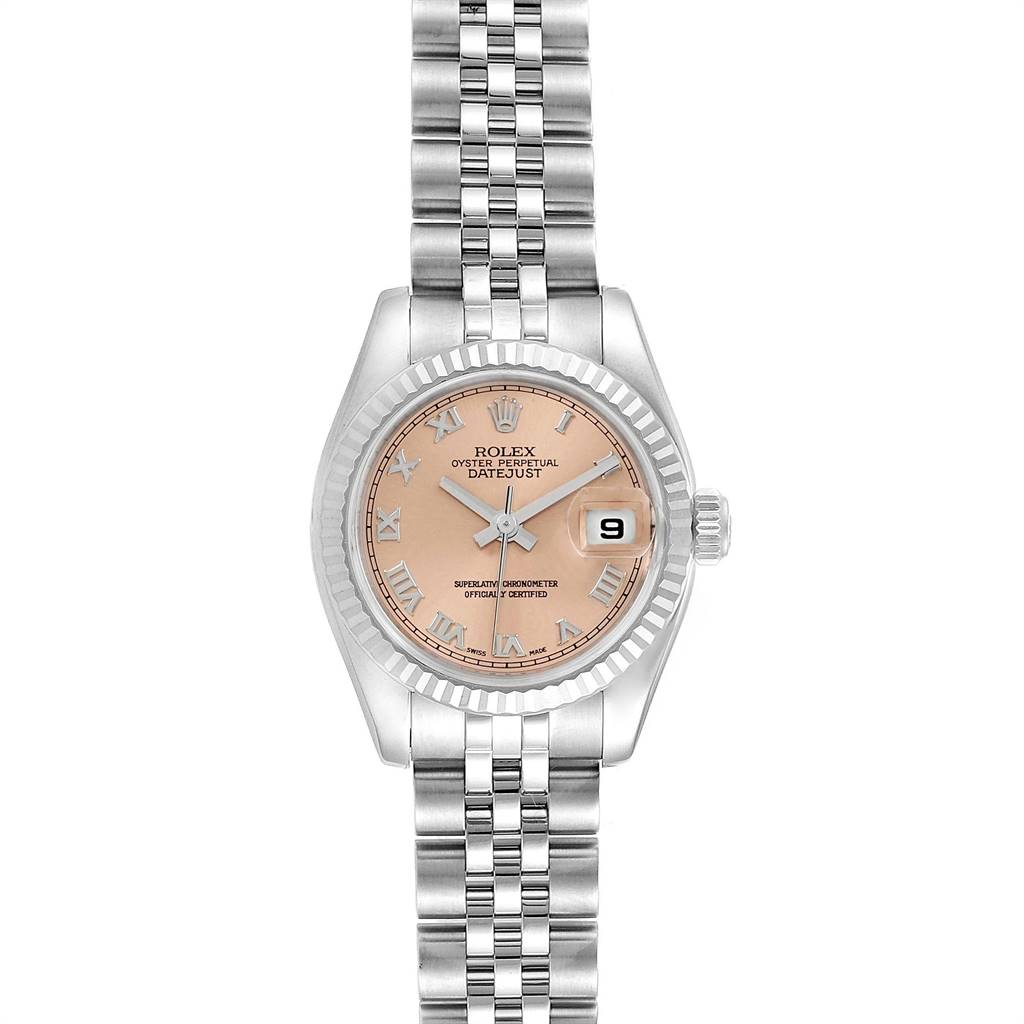 Rolex Datejust 26 Steel White Gold Fluted Bezel Ladies Watch 179174
