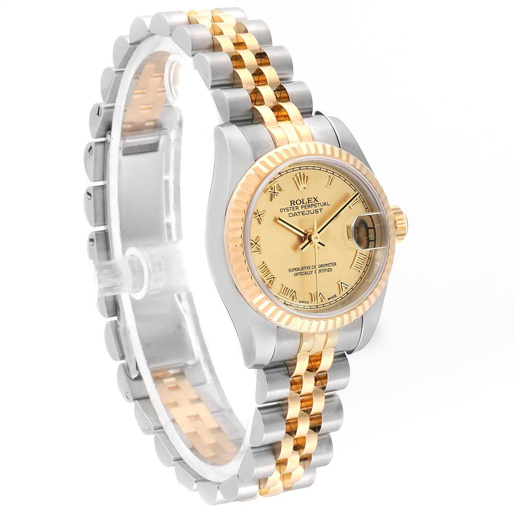 14412 Rolex Datejust Ladies Steel 18K Yellow Gold Roman Dial Watch 179173 SwissWatchExpo