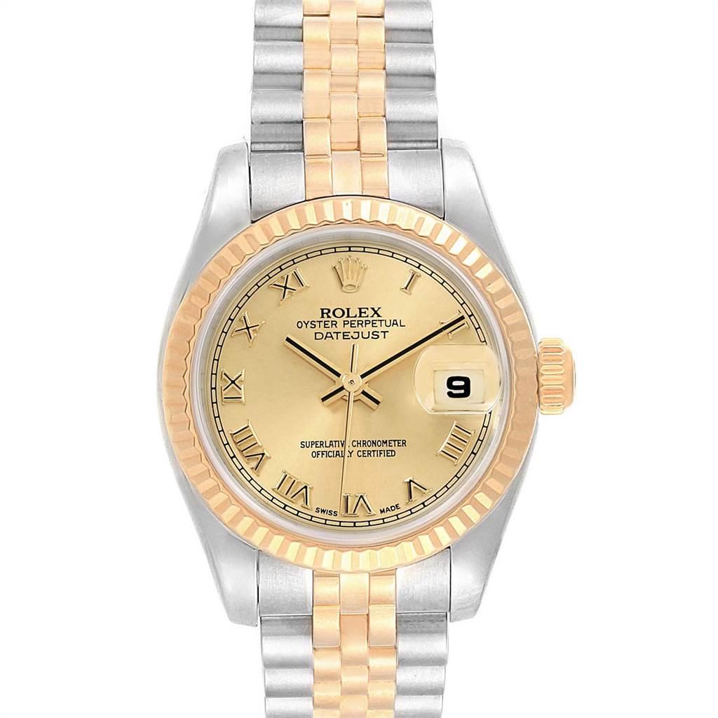 14412 Rolex Datejust Ladies Steel 18K Yellow Gold Roman Dial Watch 179173 SwissWatchExpo
