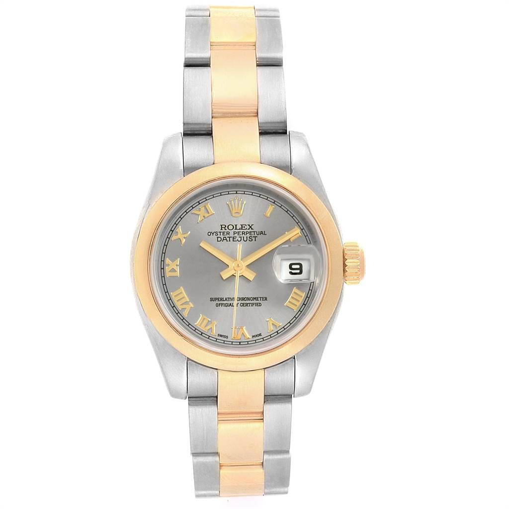 14413 Rolex Datejust 26 Steel Yellow Gold Slate Dial Ladies Watch 179163 SwissWatchExpo