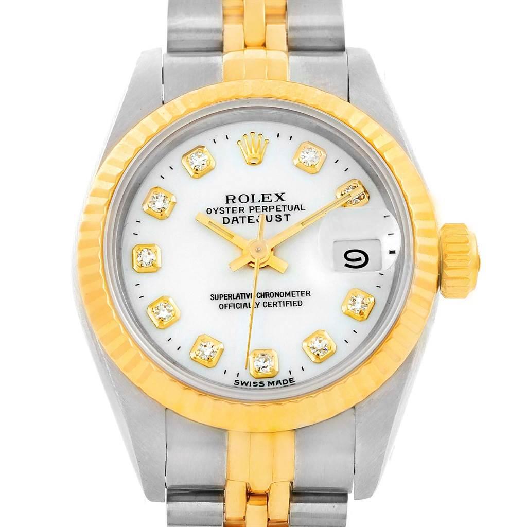 14235 Rolex Datejust Steel Yellow Gold White Diamond Dial Ladies Watch 69173 SwissWatchExpo