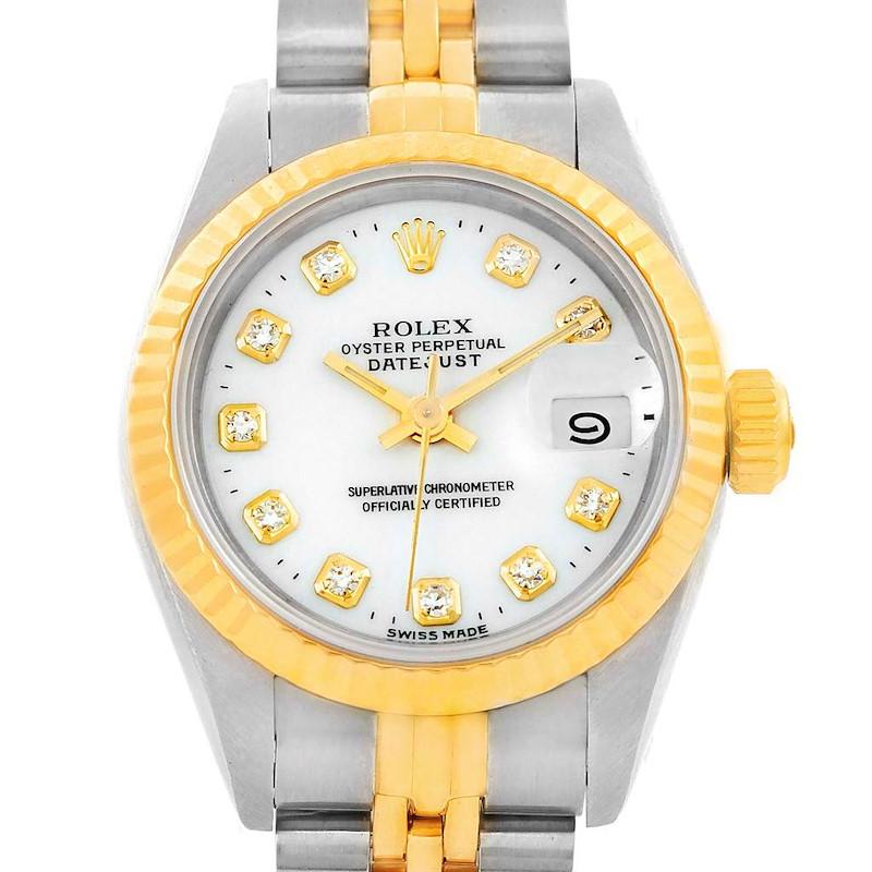 Rolex Datejust Steel Yellow Gold White Diamond Dial Ladies Watch 69173 SwissWatchExpo
