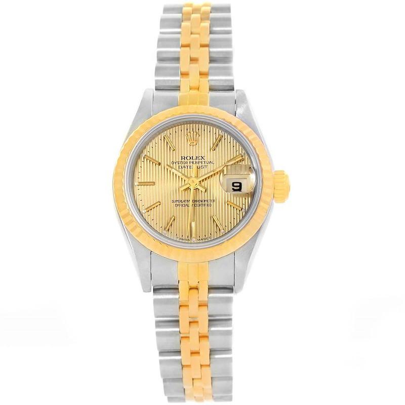 Rolex Datejust Steel Yellow Gold Tapestry Dial Ladies Watch 69173 SwissWatchExpo