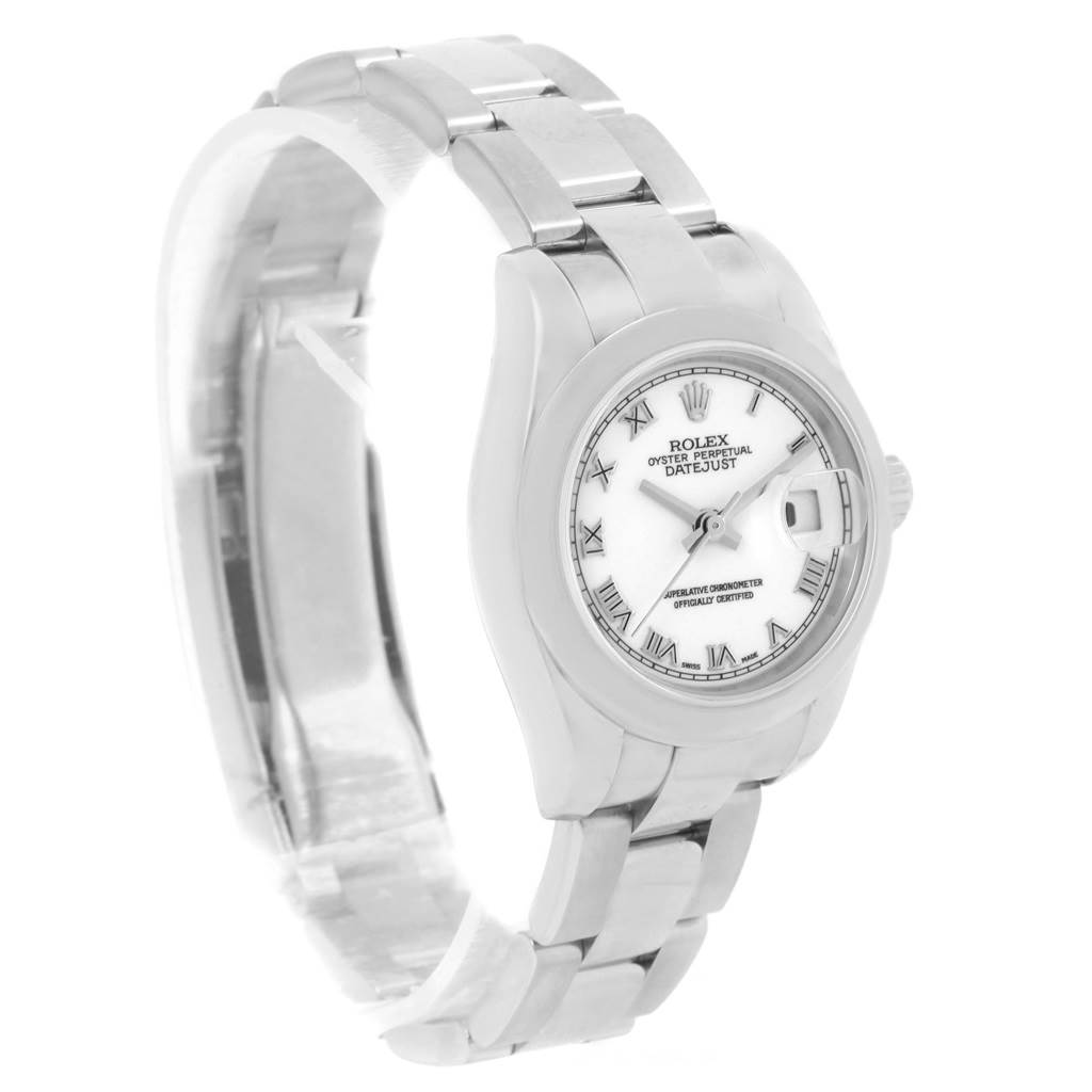 Rolex Datejust White Roman Dial Ladies Watch 179160 Box Papers SwissWatchExpo