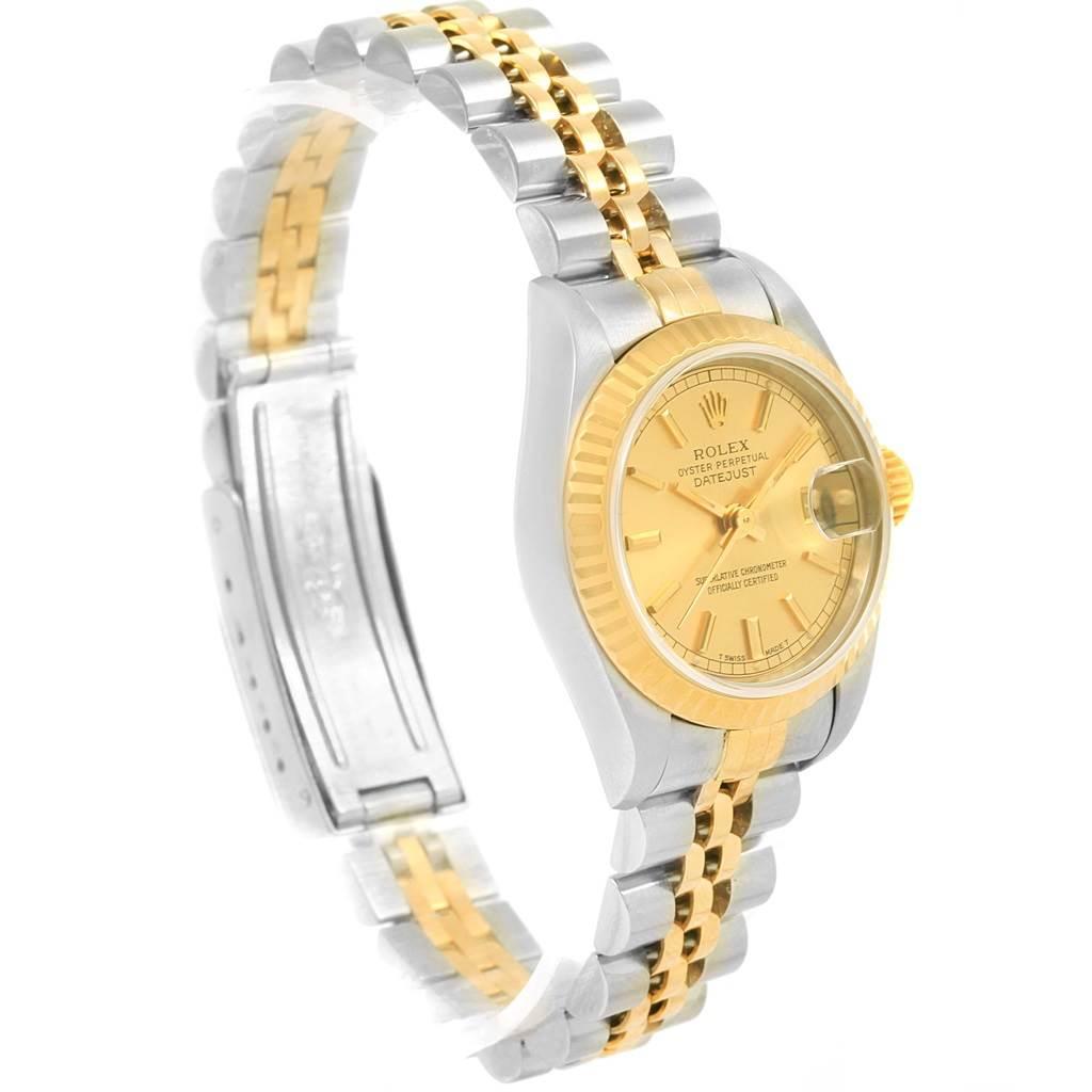 Rolex Datejust Steel Yellow Gold Baton Hour Markers Ladies Watch 69173 SwissWatchExpo