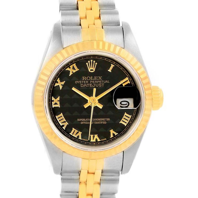 Rolex Datejust Steel Yellow Gold Roman Pyramid Dial Ladies Watch 69173 SwissWatchExpo