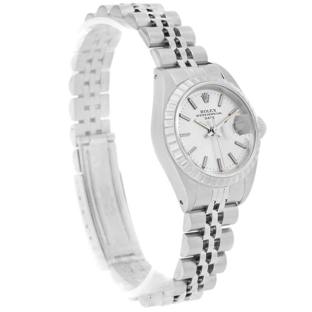 Rolex Date Silver Baton Dial Automatic Steel Ladies Watch 69240 SwissWatchExpo