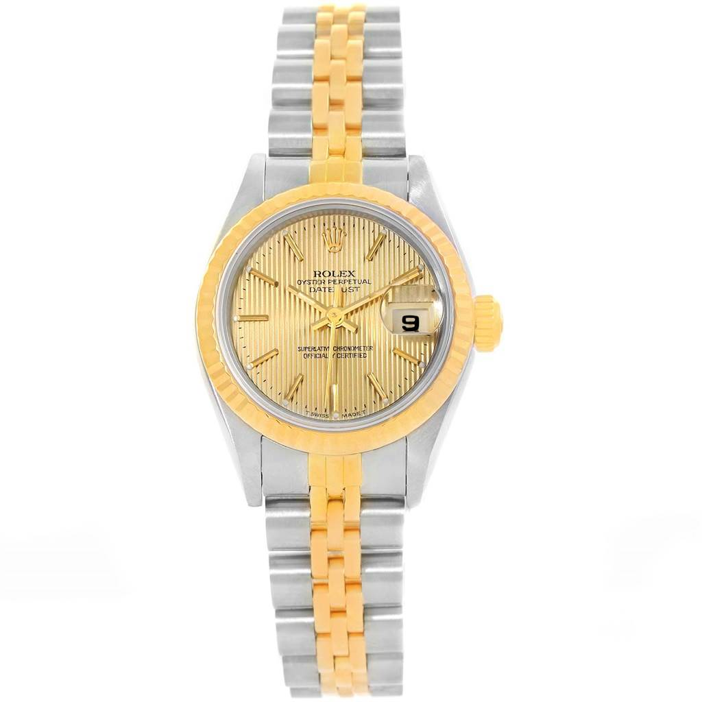 Rolex Datejust Steel Yellow Gold Tapestry Dial 26mm Ladies Watch 69173 SwissWatchExpo