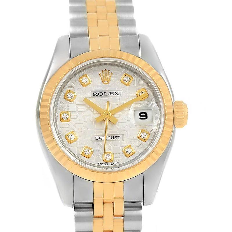 Rolex Datejust 26mm Steel Yellow Gold Jubilee Diamond Dial Watch 179173 SwissWatchExpo