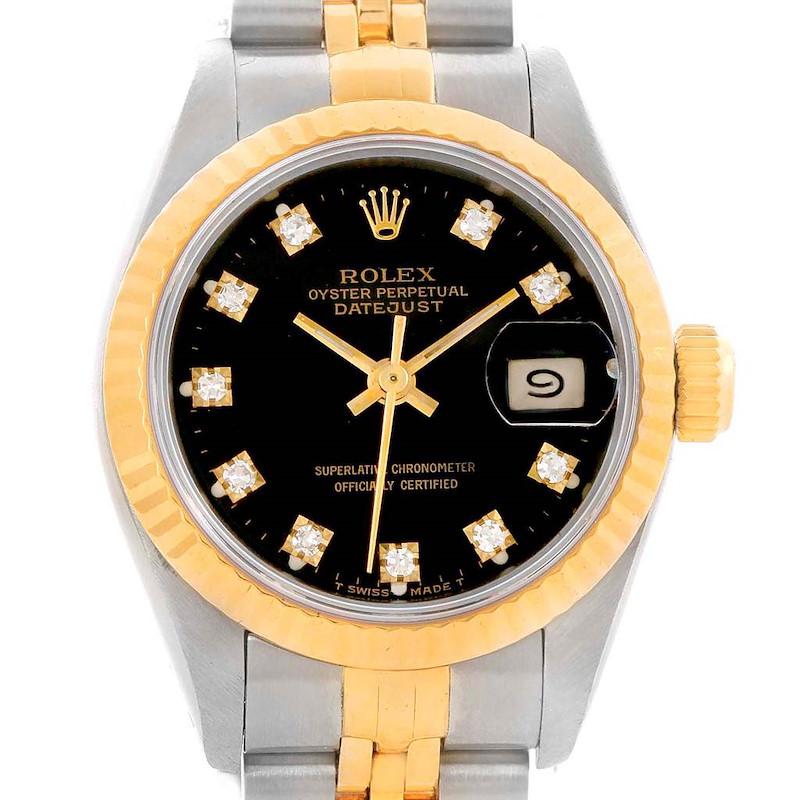 Rolex Datejust Yellow Gold Steel Black Diamond Dial Ladies Watch 69173 SwissWatchExpo
