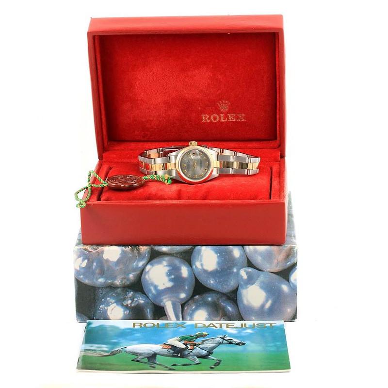 Rolex Datejust Steel Yellow Gold Slate Roman Dial Ladies Watch 69163 SwissWatchExpo