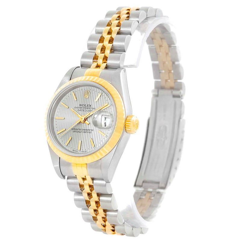 Rolex Datejust Steel Yellow Gold Silver Tapestry Dial Ladies Watch 79173 SwissWatchExpo