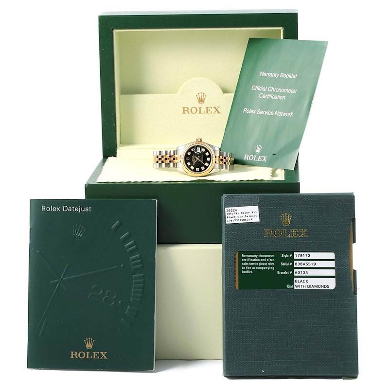 Rolex Datejust Steel Yellow Gold Diamond Ladies Watch 179173 Box Card SwissWatchExpo