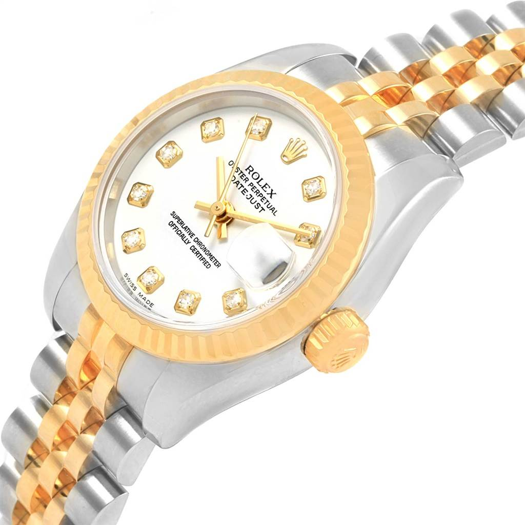 Rolex Datejust Steel Yellow Gold Diamond Dial Watch 179173 Box Papers SwissWatchExpo