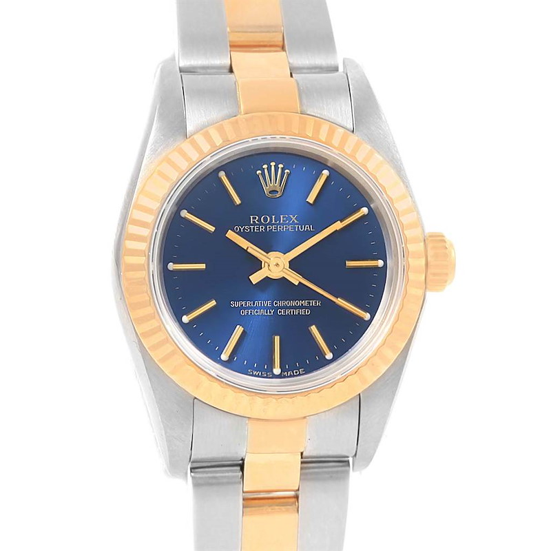 Rolex Oyster Perpetual NonDate Ladies Steel Yellow Gold Watch 76193 SwissWatchExpo