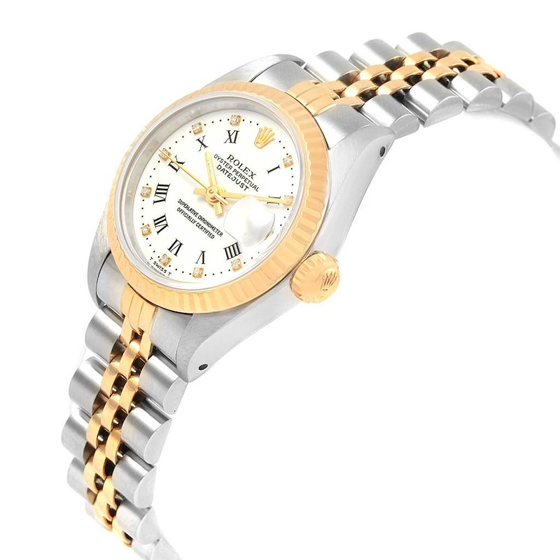 Rolex Datejust Steel Yellow Gold Roman Diamond Dial Ladies Watch 69173 SwissWatchExpo