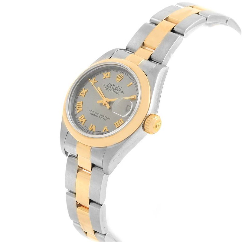 Rolex Datejust Steel Yellow Gold Slate Dial Ladies Watch 69163 Box Papers SwissWatchExpo