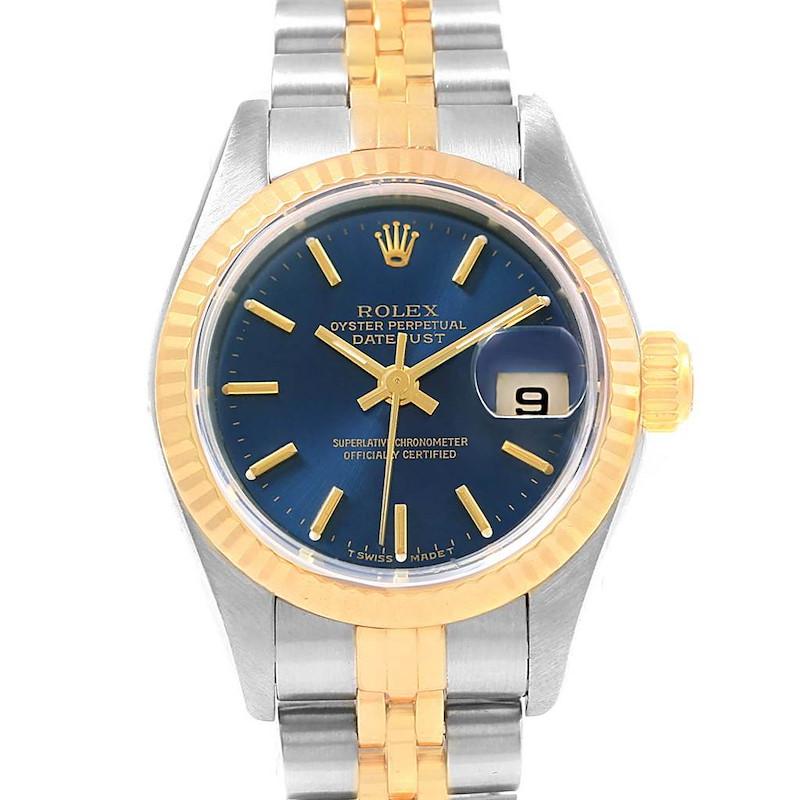 Rolex Datejust 26 Steel Yellow Gold Blue Dial Ladies Watch 79173 SwissWatchExpo