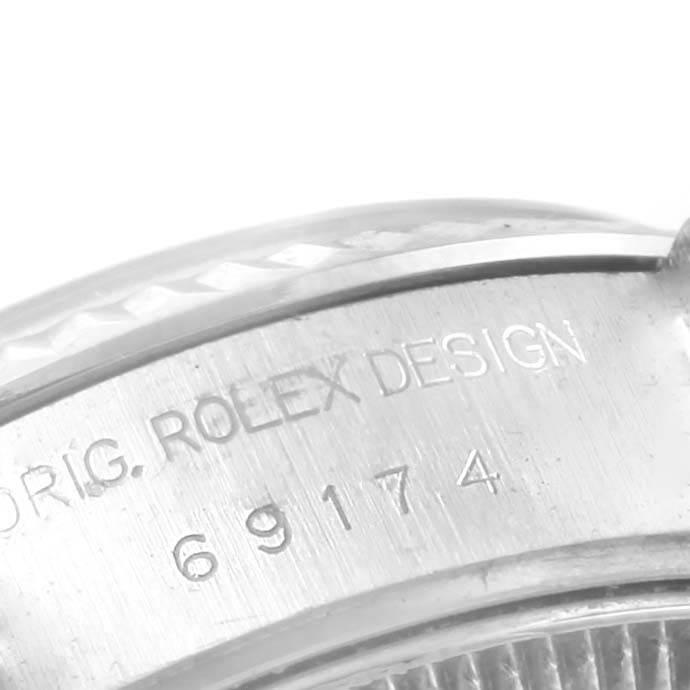 Rolex Datejust 26mm Steel White Gold Black Dial Ladies Watch 69174 SwissWatchExpo