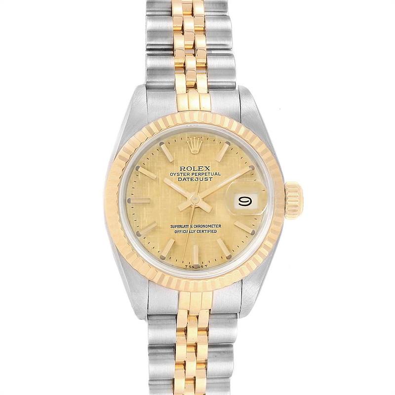Rolex Datejust Steel Yellow Gold Linen Dial Ladies Watch 69173 SwissWatchExpo