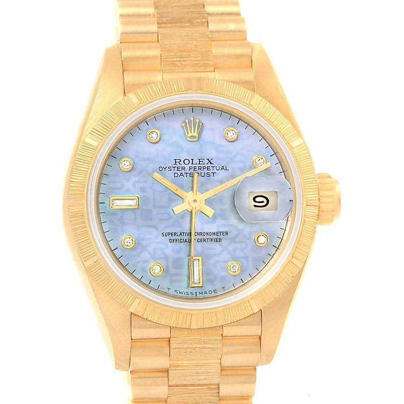 Rolex President Yellow Gold Blue MOP Diamond Dial Ladies Watch 69278 SwissWatchExpo