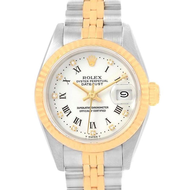 Rolex Datejust Steel Yellow Gold Roman Diamond Dial Ladies Watch 69173 SwissWatchExpo