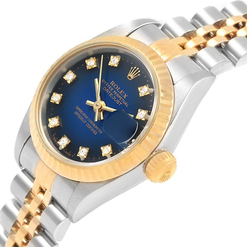 Rolex Datejust Yellow Gold Steel Blue Vignette Diamond Ladies Watch 69173 SwissWatchExpo