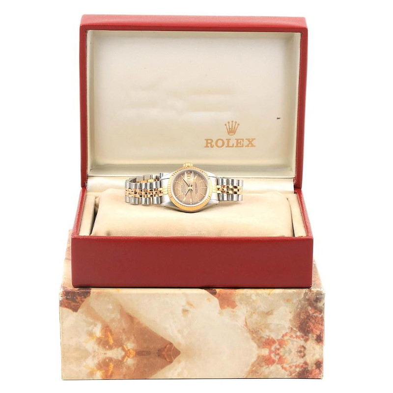 Rolex Datejust Steel Yellow Gold Houndstooth Dial Ladies Watch 69173 SwissWatchExpo