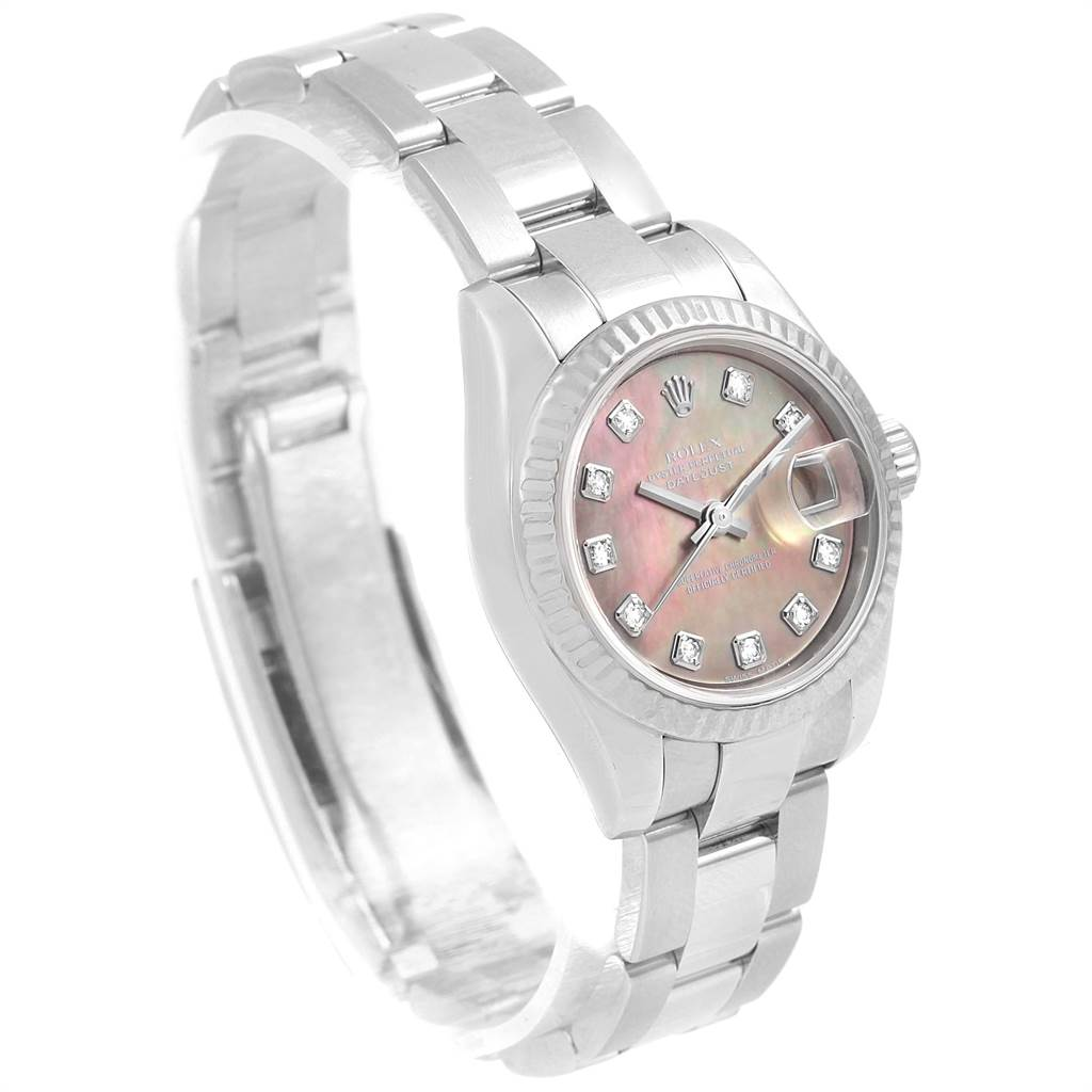 13934 Rolex Datejust Steel White Gold Mother of Pearl Diamond Ladies Watch 179174 SwissWatchExpo