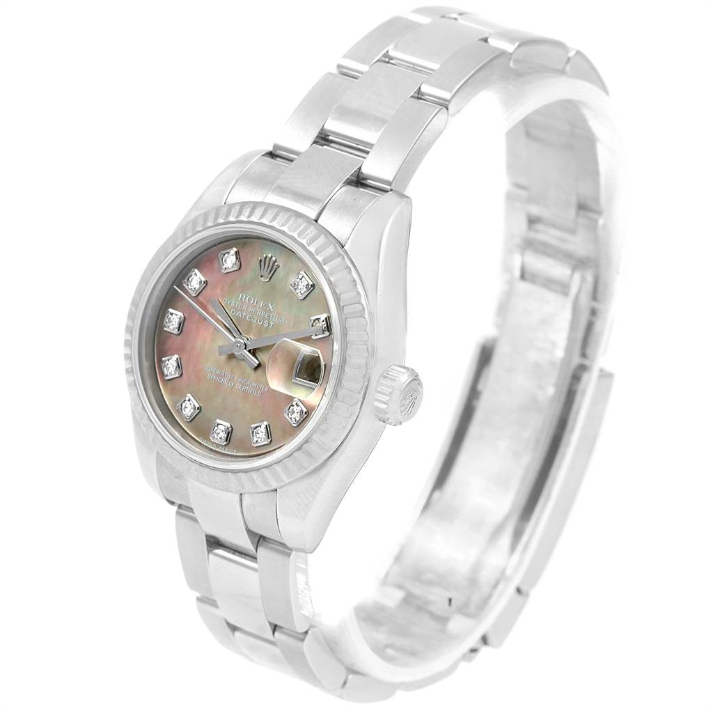 Rolex Datejust Steel White Gold Mother of Pearl Diamond Ladies Watch 179174 SwissWatchExpo