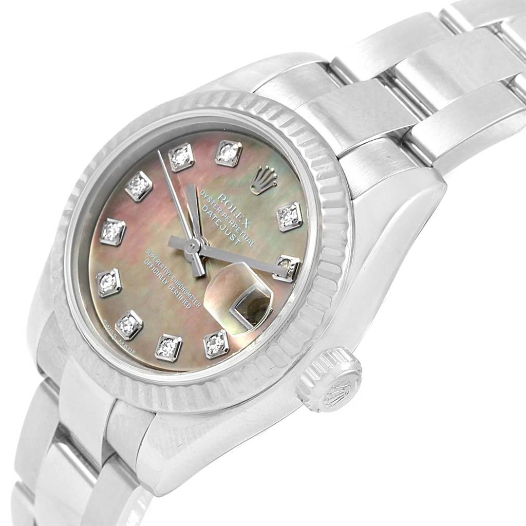 13934 Rolex Datejust Steel White Gold Tahitian MOP Diamond Ladies Watch 179174 SwissWatchExpo