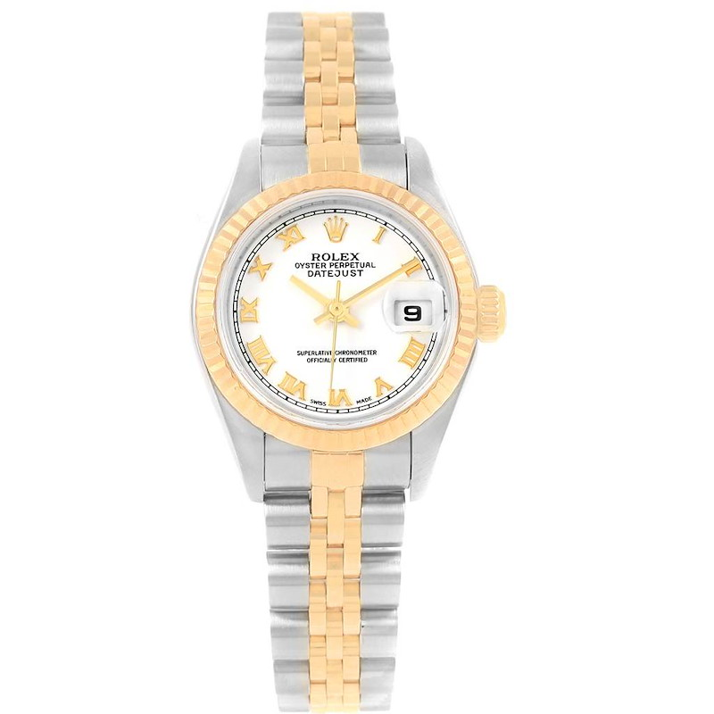 Rolex Datejust Steel Yellow Gold White Roman Dial Ladies Watch 79173 SwissWatchExpo