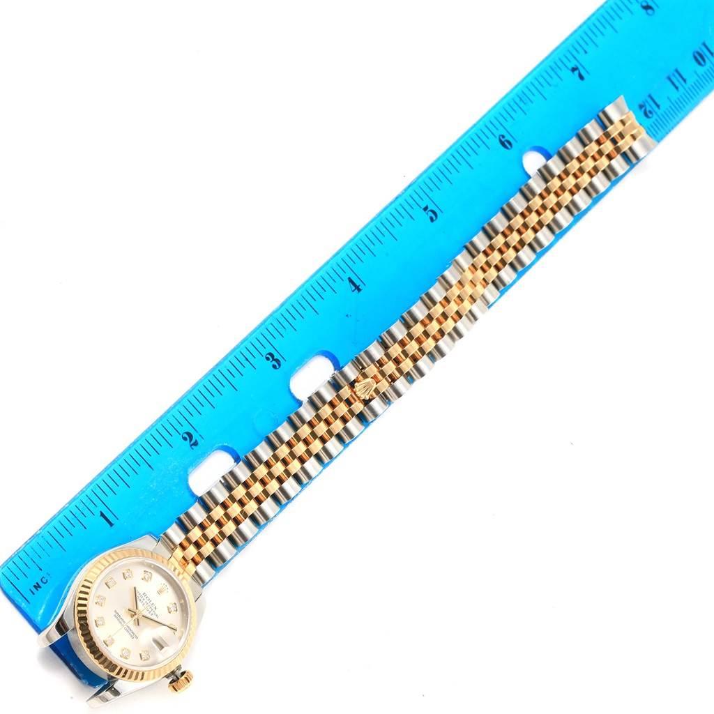 Rolex Datejust Steel Yellow Gold Silver Diamond Dial Ladies Watch 179173 SwissWatchExpo
