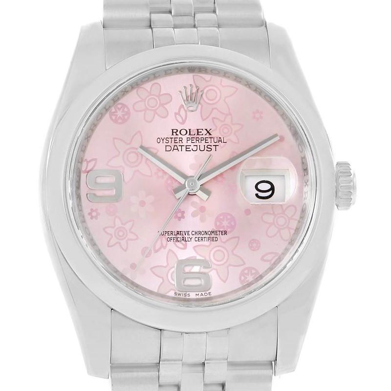 Rolex Datejust 36 Steel Pink Floral Dial Jubilee Bracelet Watch 116200 SwissWatchExpo