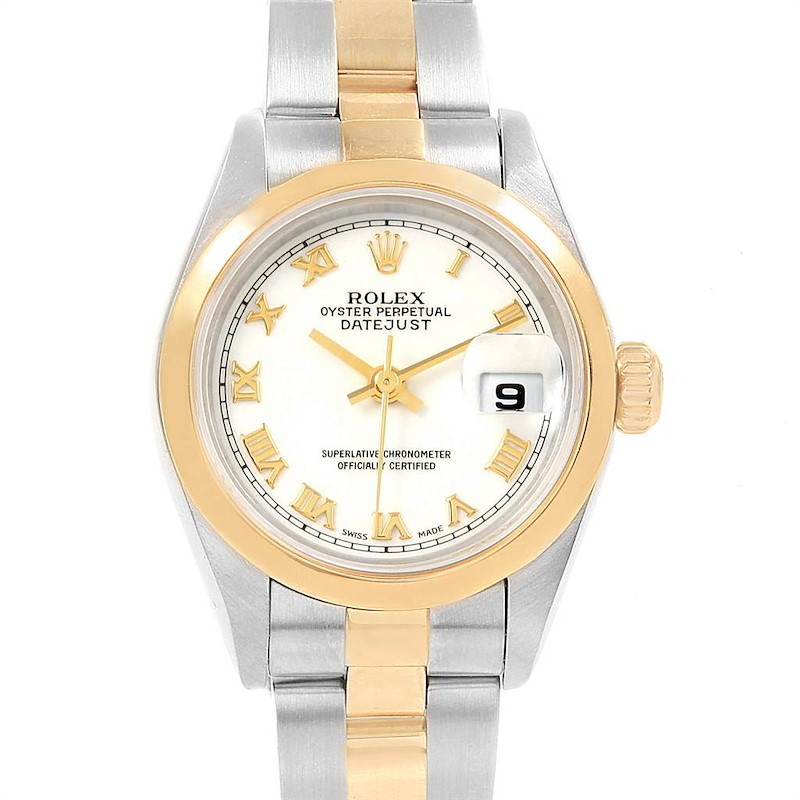 Rolex Datejust Steel Yellow Gold White Roman Dial Ladies Watch 69163 SwissWatchExpo